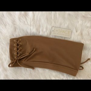 NWT L*Space Crystal Tube Top Camel Size Small